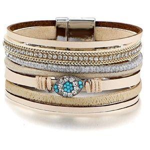 Jewelry - NEW!! Multi-Layer Leather Rhinestone Bracelet